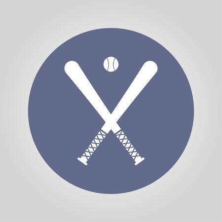 bunt: Vector crossed baseball bats and ball set.