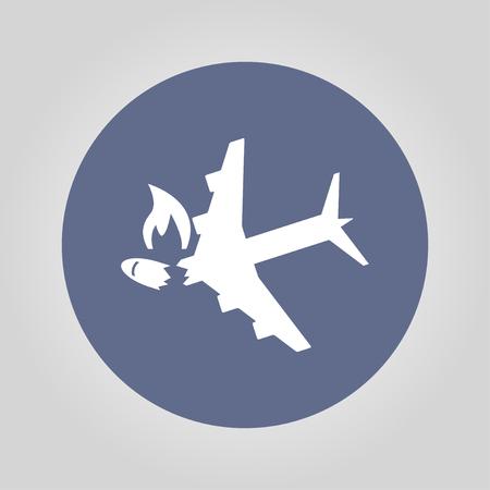 airflight: Airplane Crash vector icon. Style is flat symbol, Illustration
