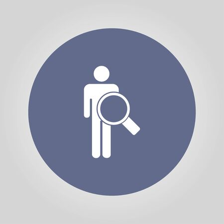circumference: magnifier - User icon. Flat design style