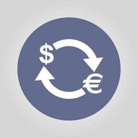 stylized banking: Money convert icon. Euro Dollar. Flat design style
