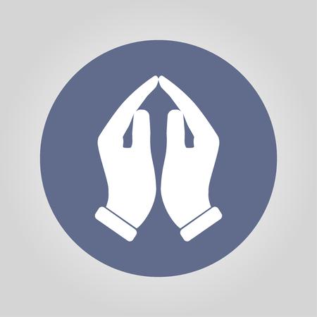 praise hands: Praying hands icon, vector illustration. Flat design style Illustration