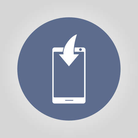 mobile phone icon: Mobile Phone Download Icon. vector design flat