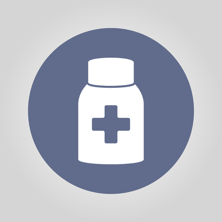 phial: medicine bottle icon. Flat design style EPS