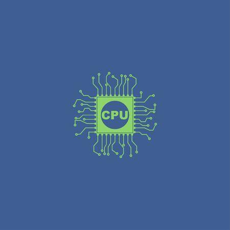 semiconductor: Circuit board icon. Technology scheme square symbol.