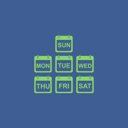 トレンディなフラット スタイルは、現実的なベクトルのカレンダー アイコンのイラスト。毎日週のカレンダー アイコンのセットです。  イラスト・ベクター素材