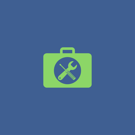 tooling: Toolbox vector icon. Flat design style eps 10