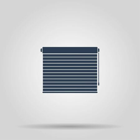 jalousie: Louvers rolls sign icon. Window blinds or jalousie symbol. Circle flat button with shadow. Modern UI website navigation