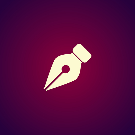classic authors: Ink pen Icon Isolated on red Background.