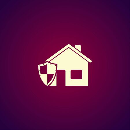 guard house: house shield icon. Flat design style eps 10