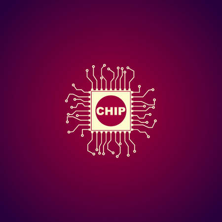 chipset: Vector chip icon, isolated vector eps 10 illustration