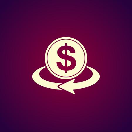 refresh rate: money convert icon. Flat design style