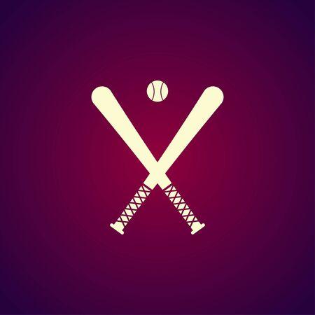 infield: Vector crossed baseball bats and ball set.