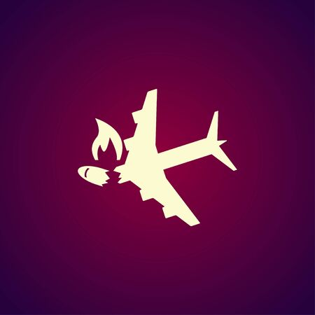 Airplane Crash vector icon. Style is flat symbol,
