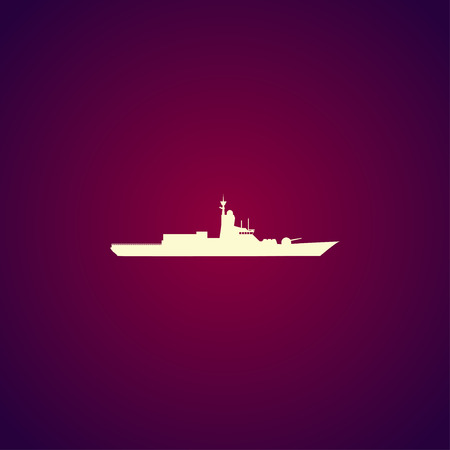 convoy: Silhouette of a large warship. Concept illustration for design.