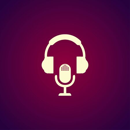 earphone: earphone and microphone icon. Concept illustration for design. Illustration