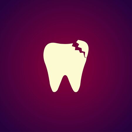 mouth pain: Tooth Icon. Flat design style