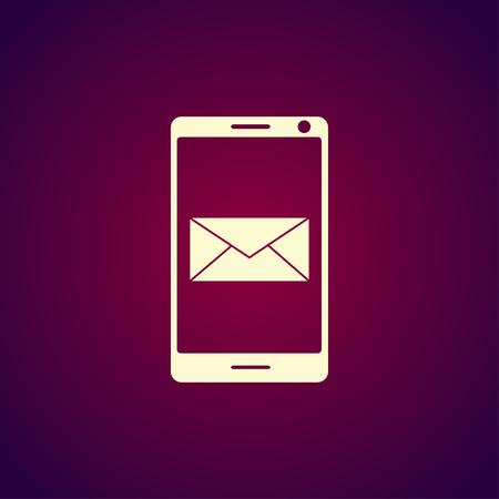 simbol: E-mail dello smartphone o icona sms. Cellulare mail segno simbol. Vettoriali