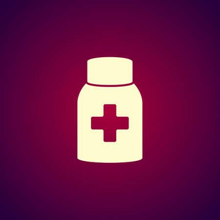 a substance vial: medicine bottle icon. Flat design style