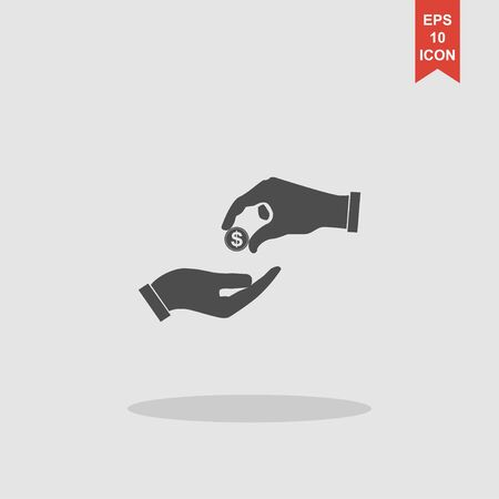 avarice: Flat icon, give alms, Illustration EPS 10 Illustration
