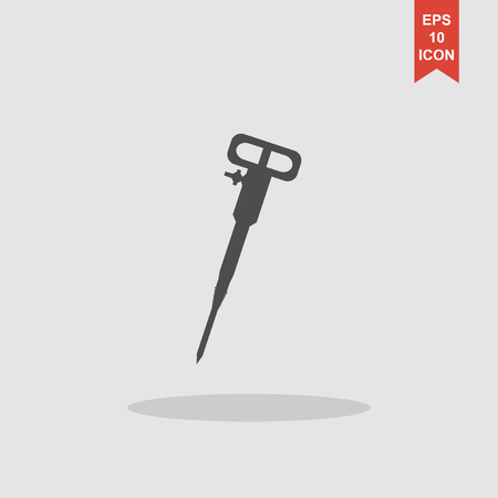 hammer drill: Pneumatic hammer drill line icon for web, mobile and infographics. Illustration