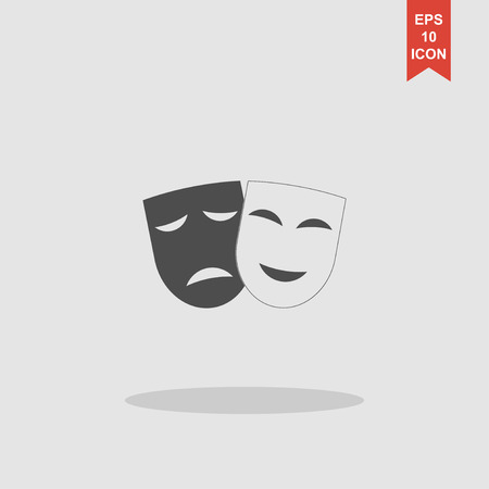 moods: Theater icon with happy and sad masks. Vector illustration. Illustration