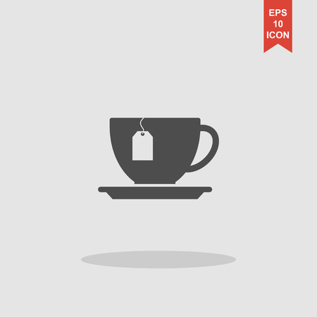 teaparty: cup with tea bag . Flat design style eps 10
