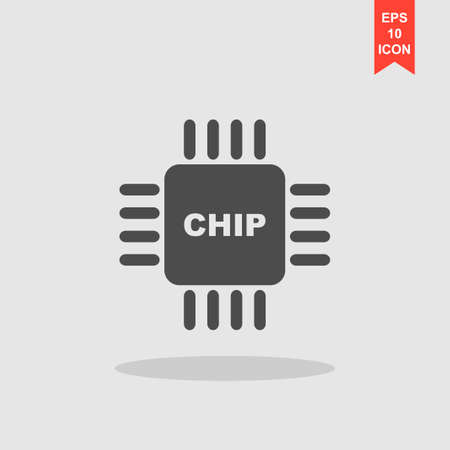microelectronics: Vector chip icon, isolated vector eps 10 illustration
