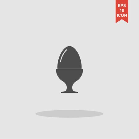 middle easter: Flat a boiled egg vector icon. Vector concept illustration for design.