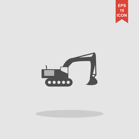 mine site: Excavator icon. Vector concept illustration for design.