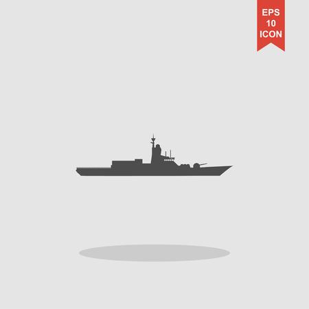 corvette: Silhouette of a large warship. Concept illustration for design.