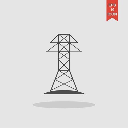 powerlines: Electric Tower line icon. Concept illustration for design.