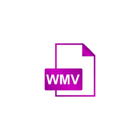 wmv: wmv file icon. Flat design style eps Illustration