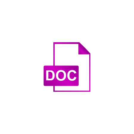 text bubble: File document icon. Download doc button. Vector