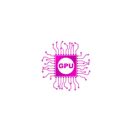 gpu: Circuit board icon. Technology scheme square symbol.