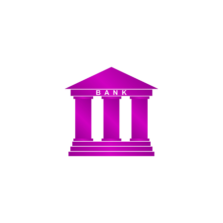 derecho romano: Bank icon in flat style with the building facade with three pillars illustration