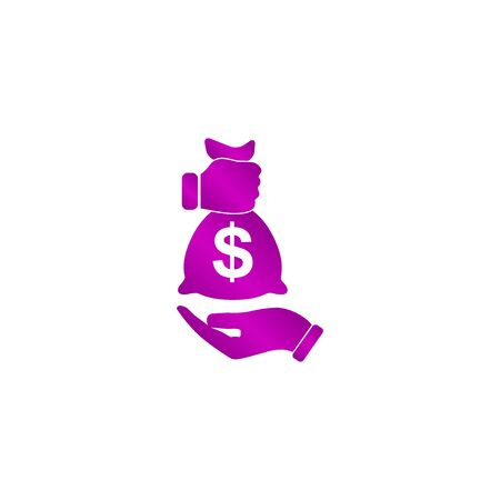 Pictograph of money in hand. Flat design style eps 10 Illustration