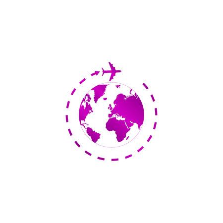 Globe and plane travel icon. Vector Eps 10