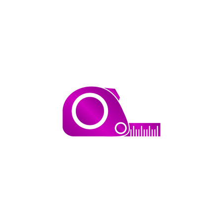 simbol: Tape measure icon. Roulette construction simbol. Flat