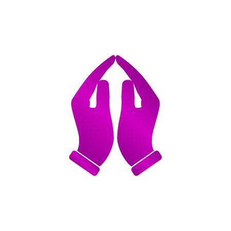 Pregare mani icona, illustrazione vettoriale. Appartamento stile di disegno Archivio Fotografico - 60029323