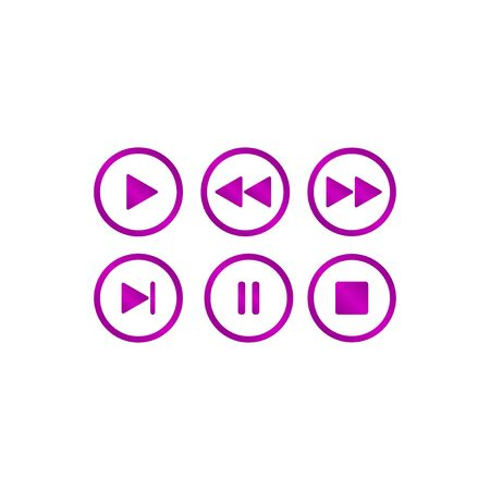 pause icon: Media player buttons collection vector design elements. Illustration