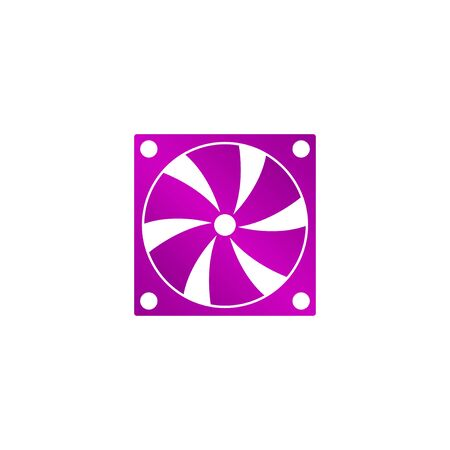 pc case: Computer cooling fan icon. Flat design style eps 10 Illustration