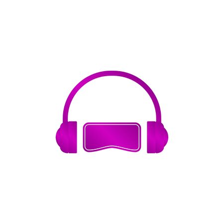 users video: Virtual reality headset icon, flat design, vector