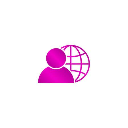 global business, business man icon, vector illustration. Flat design style Illustration