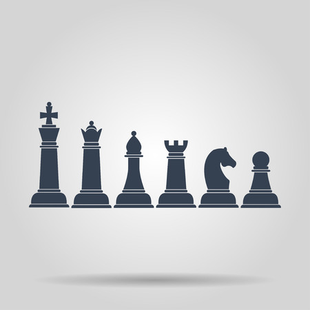 named: Set of named chess piece vector icons. Concept illustration for design. Illustration