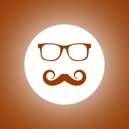 Mustache and Glasses vector icon. Flat