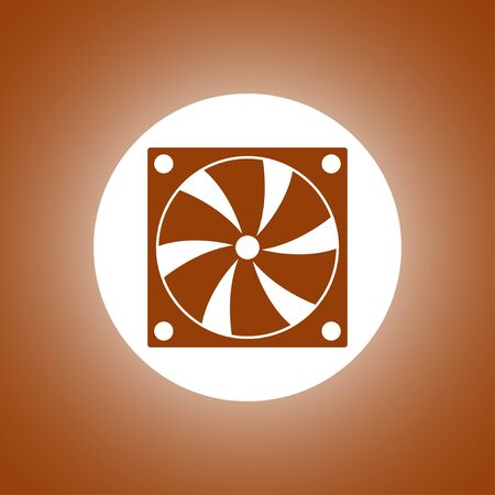 Computer cooling fan icon. Flat design style Illustration