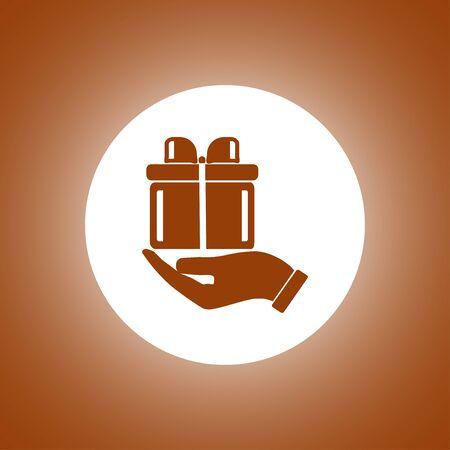 vector gift box icon. Flat design style Illustration