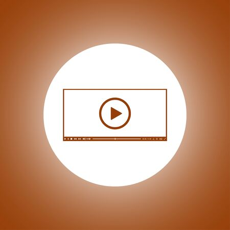 Flat clean video player for web. Vector Illustration