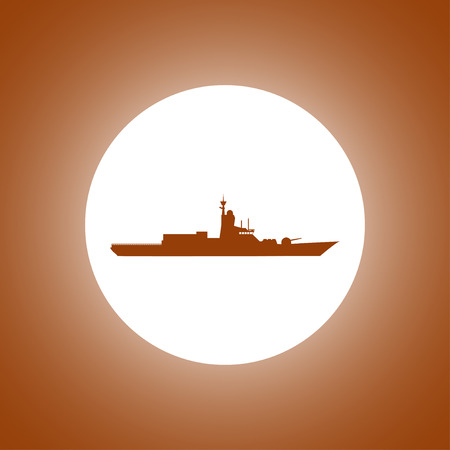 turret: Silhouette of a large warship. Concept illustration for design.