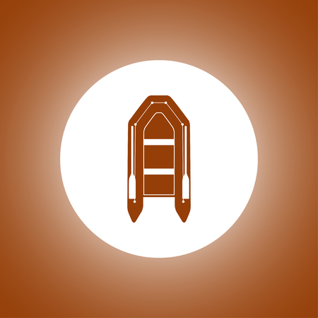 inflatable boat: Inflatable boat flat icon. Concept illustration for design.